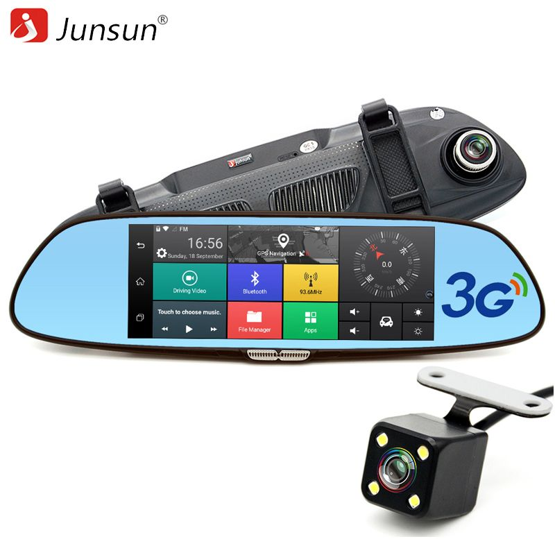 Junsun 3G 7 Car DVR Mirror Camera Android 5.0 wifi GPS <font><b>Full</b></font> HD 1080P Video Recorder Dual Lens Registrar Rear view dvrs Dash cam