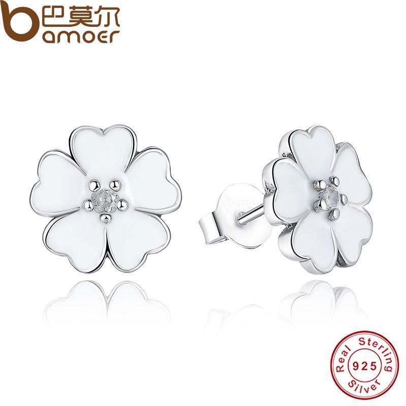 925 Sterling Silber Primrose Blume Stud Ohrringe Weiß Emaille Kompatibel mit Schmuck mit Zirkonia PAS402