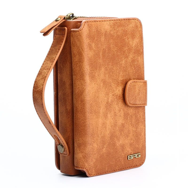 BRG Multifunction Wallet Leather Case For Samsung S4 S5 S6 S7 EDGE S8 NOTE4 NOTE5 Note8 Zipper Purse Pouch Bags Lady <font><b>Handbag</b></font>