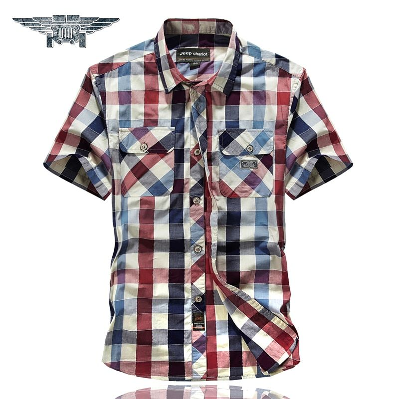 2018 neue Herren Plaid Shirts Kurzarm Baumwolle Herren Casual Shirts drehen-unten Kragen Mens Dress Shirts #8512