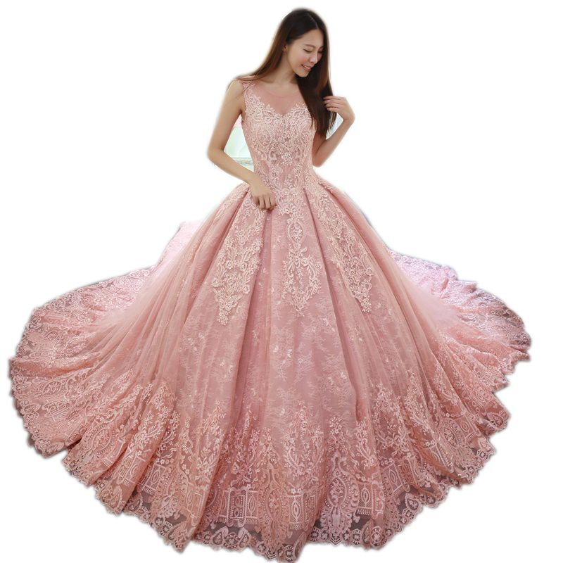 vinca sunny 2018 sleeveless pink wedding dresses lace applique floor length vestidos longos luxury princess wedding dress