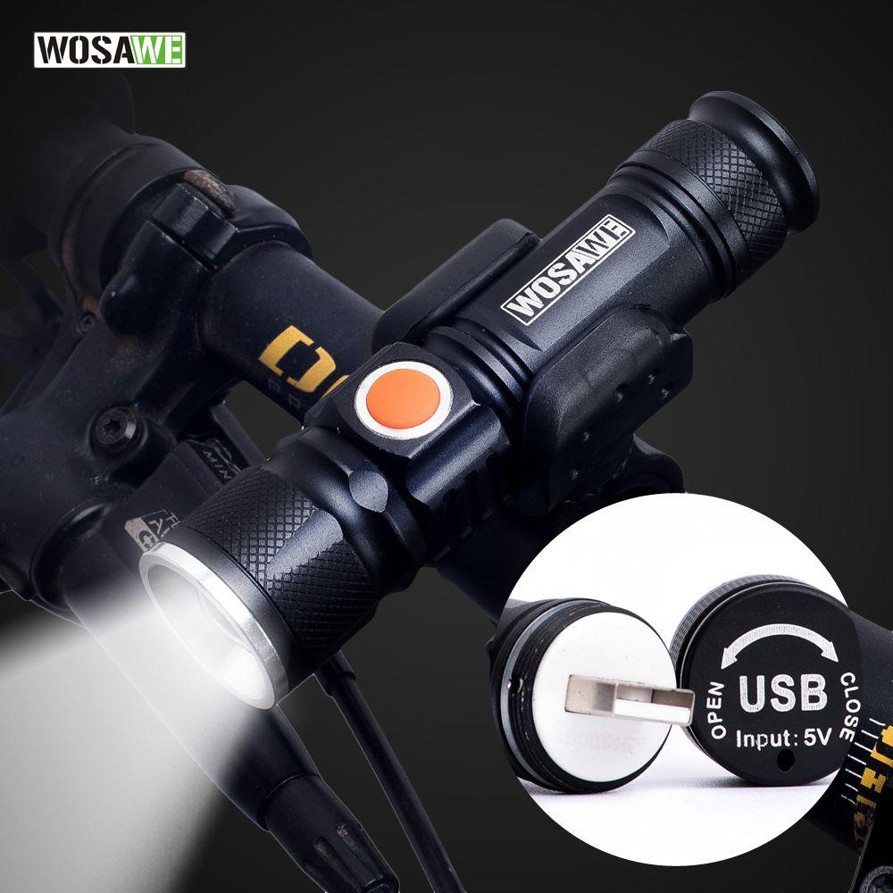 WOSAWE vélo lumière USB Rechargeable vélo lumière LED 800 Lumen lampe de poche étanche ultra lumineux Flash lumière 18650 batterie
