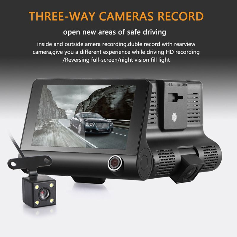 4.0'' 3 Way Car DVR Dash Camera Video Recorder Rear View Auto <font><b>Registrator</b></font> With Two Cameras Dash Cam DVRS Dual Lens Blackbox