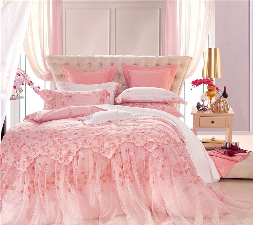 Pink Luxury Oriental Lace Wedding Princess Beddings set Queen King size Bed set Bedspread sheet set Duvet Cover set Pillowcase