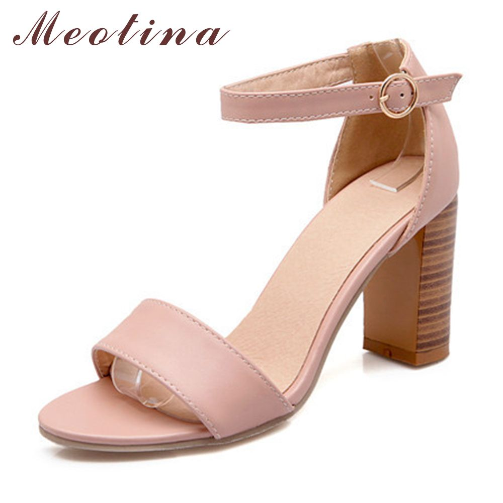 Meotina Shoes Women Sandals Summer 2018 Open Toe Ankle Strap Thick High Heels Sandals White Pink Ladies Shoes Big Size 9 10 43