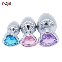DOMI 3PCS Anal Beads Crystal Jewelry Heart Butt Plug Stimulator Sex Toys Dildo Stainless Steel Anal Plug