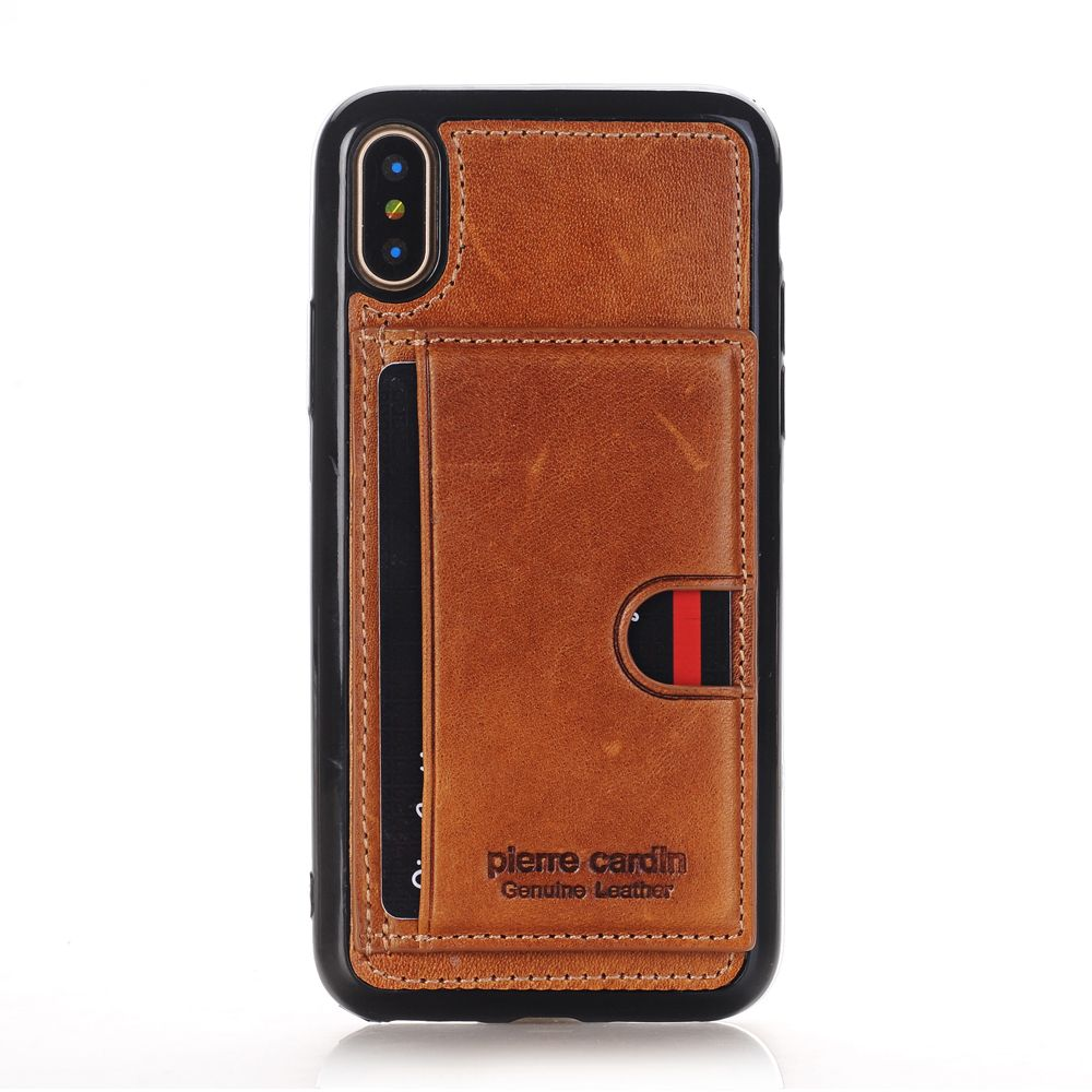 Pierre Cardin Genuine Leather Case Slim Card Holder Stand Flip Leather Style Sofe TPU Phone Cover Case For Apple iPhone X Case