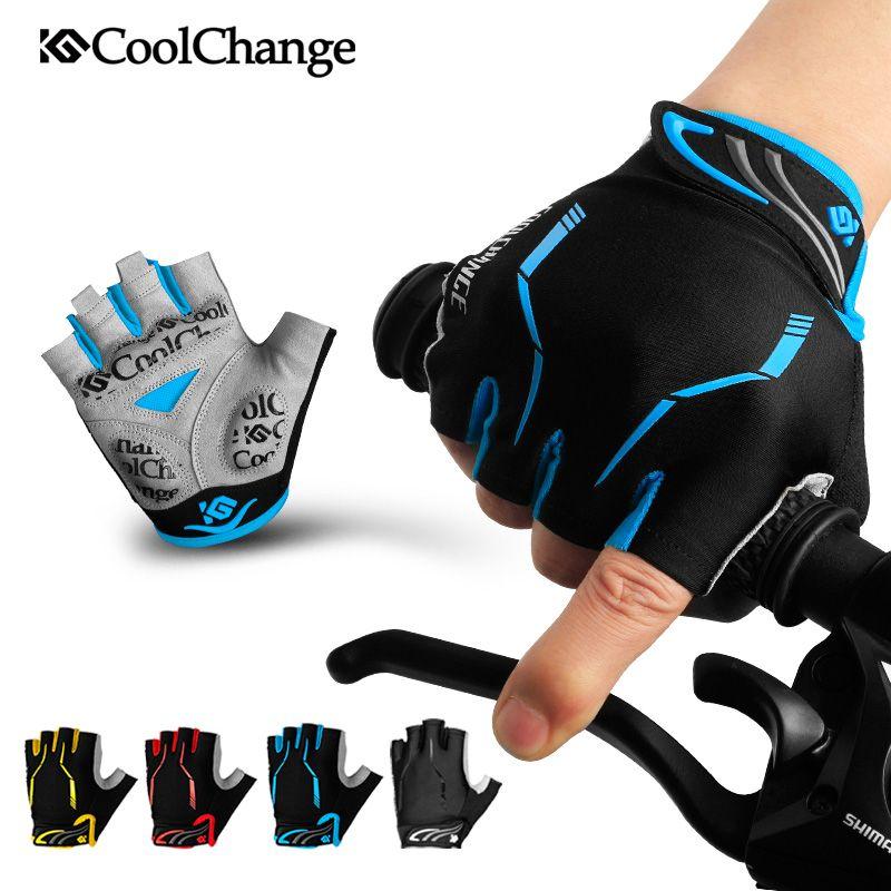 CoolChange gants de cyclisme demi doigt hommes femmes Sports d'été gants de vélo antichoc GEL vtt gants de vélo Guantes Ciclismo