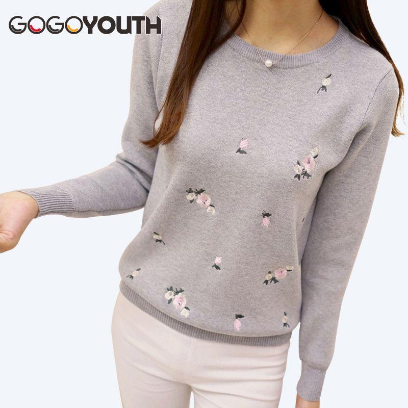 Gogoyouth 2018 осенний свитер Для женщин Вышивка вязаная зимняя Для женщин свитер и пуловер женский трикотаж джерси Перемычка тянуть Femme