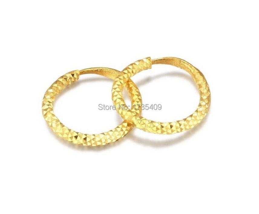 Reine Solide 24 karat Gelbgold Ohrring/Glück Kreis Hoop Ohrring/1,95g
