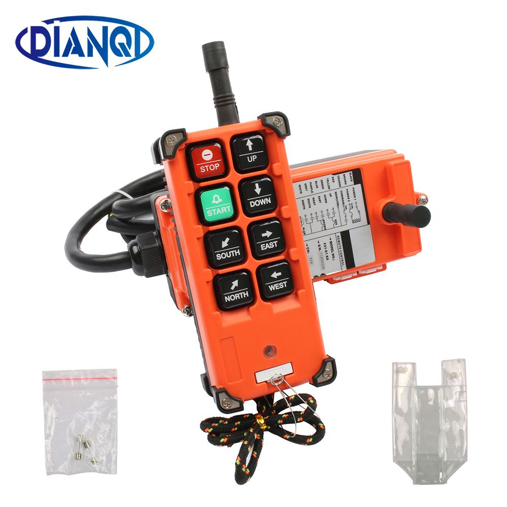 DIANQI Industrial remote control hoist crane push button switch with 8 buttons 1 receiver+ 1 transmitter for truck hoist crane