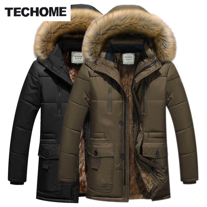 Зимние Повседневное хлопковые пиджаки 3 цвета плюс Размеры XXXXL молния утепленная куртка с меховой воротник Для мужчин baixa Куртки и теплый сн...