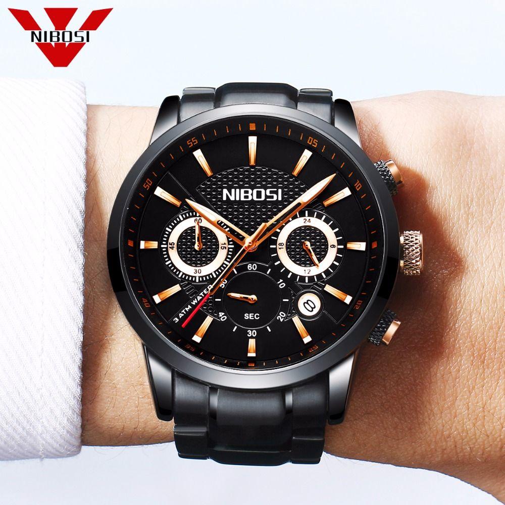 NIBOSI Mens Unique Luxury Business Quartz Watch Men Casual Analog Wristwatch Classic Calendar Waterproof Date Relogio Masculino