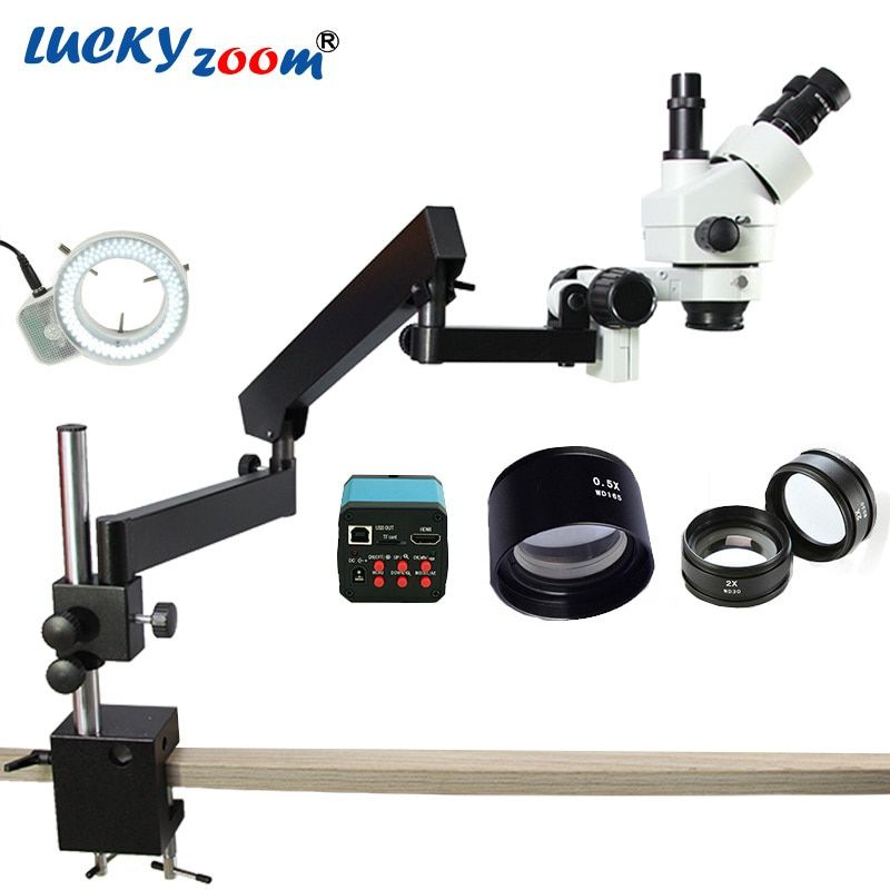 Luckyzoom 3.5X-90X Simul-Focuse Articulating Arm Stereo Zoom Microscope 14MP HDMI Camera 144 LED Light Trinocular Microscopio