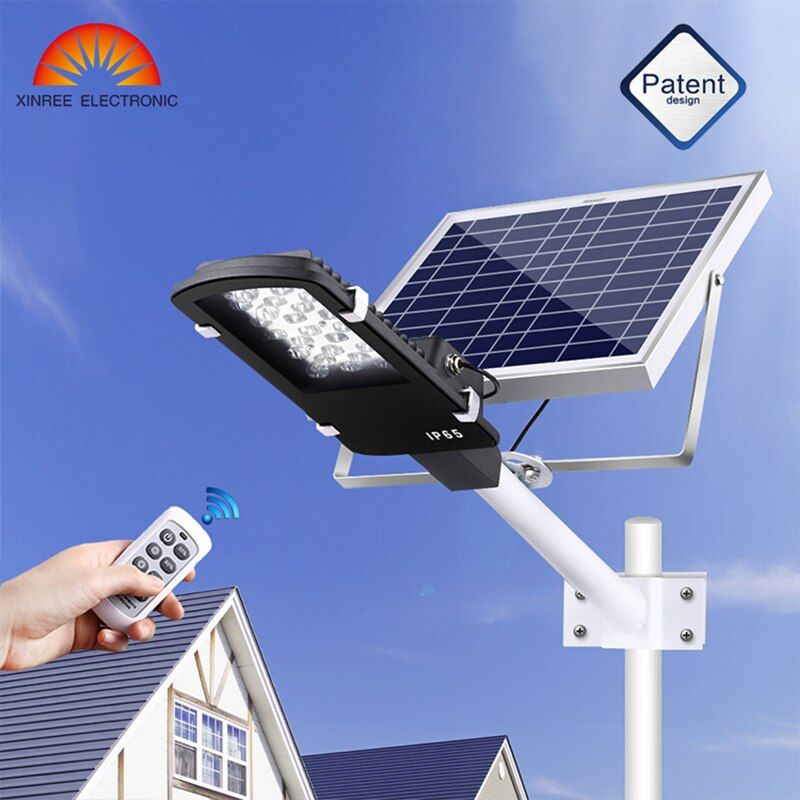 XINREE 15W Led Garden Solar Light 12 LED Solar Power Street Light with Remote Garden Security Lamp Street Waterproof IP65