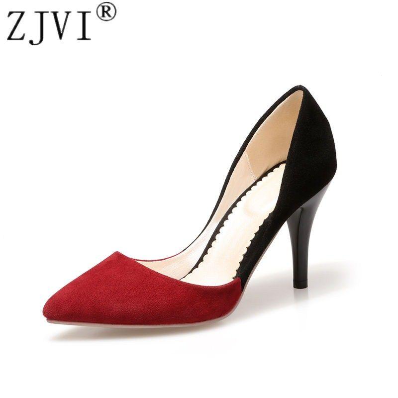 ZJVI femme sexy daim bout pointu mince talons hauts pompes pour femmes été noir chaussures dames de mariage pompes zapatos mujer 2019