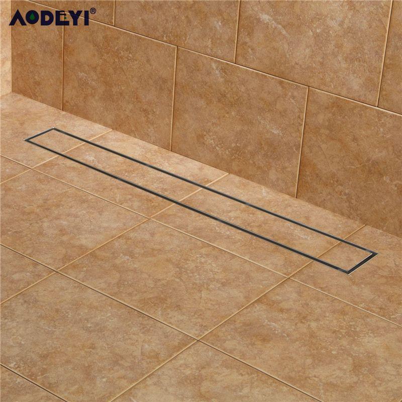 AODEYI 304 acier inoxydable 60 cm carrelage Insert rectangulaire linéaire Anti-odeur sol Drain salle de bains matériel Invisible douche 11-208