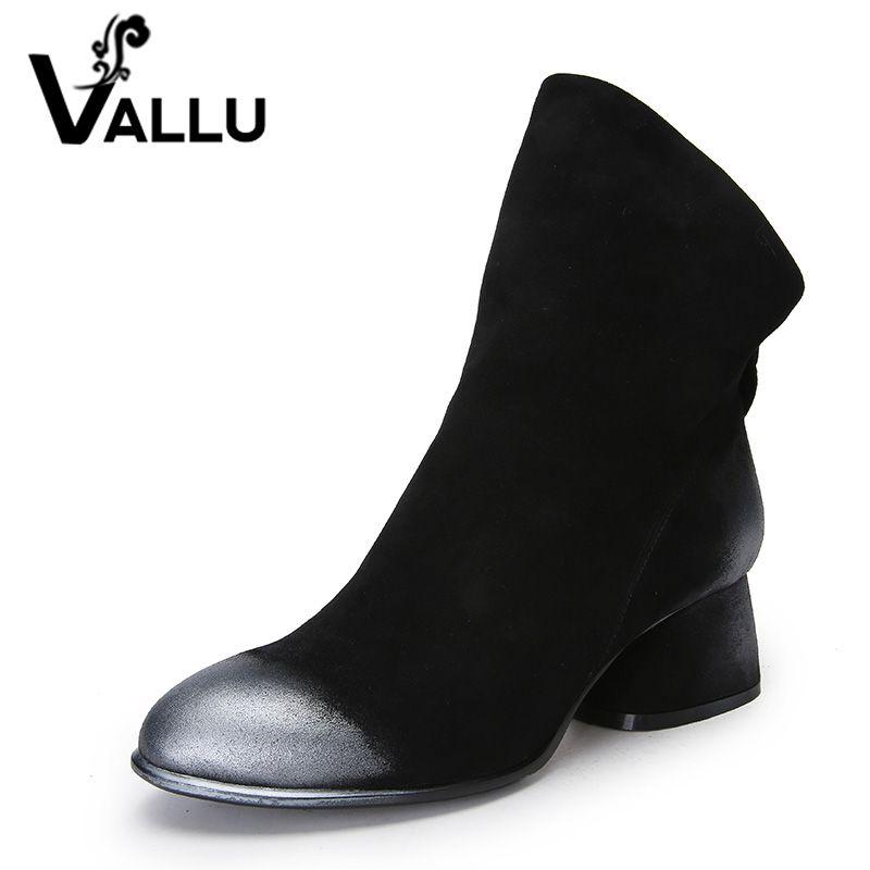 VALLU Nouveau 2018 Femmes De Mode Chaussures Cheville Bottes En Daim Naturel mixte Couleur Talons Bas Glissière au Dos Femme Bottes Noir Plus taille