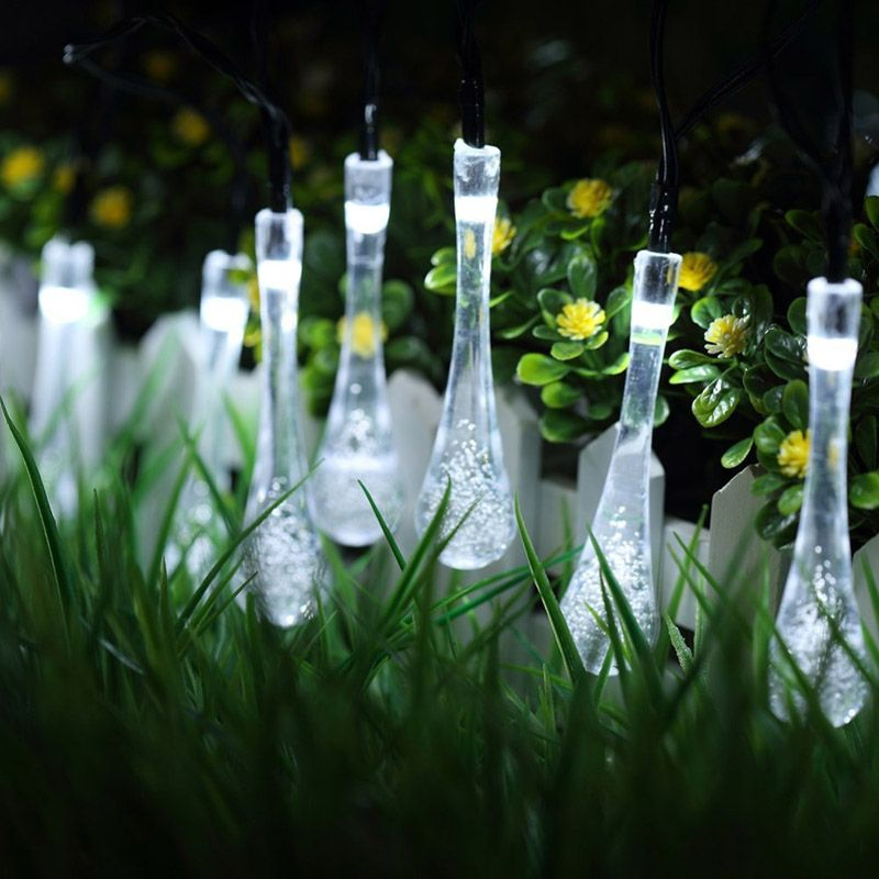 New 20 LED Solar Powered Water Drop String Lights LED Fairy Light Wedding Christmas Party Festival Outdoor <font><b>Indoor</b></font> Decor