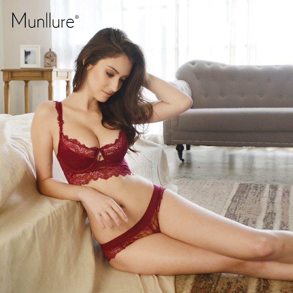 Munllure Ultra-mince Sexy dentelle soutien-gorge ensemble grande taille fille brassière Push up soutien-gorge et culotte femme dames femmes ensemble de sous-vêtements