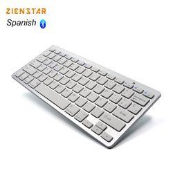 Zienstar Idioma Español teclado inalámbrico ultra delgado Bluetooth 3.0 para iPad/iPhone/MacBook/PC/android tablet