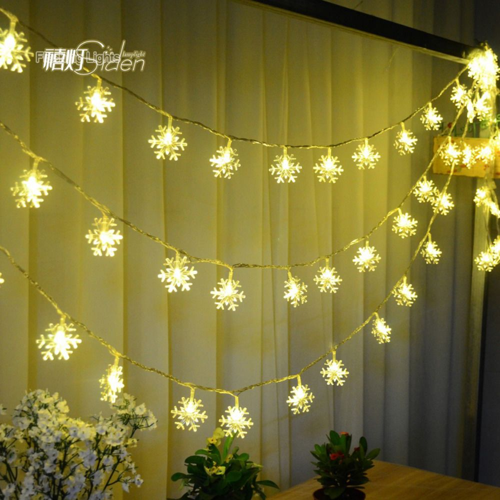 New 5M 28 LED Snowflake Tree String Fairy Lights Christmas Xmas Party Wedding room indoor Decoration Luci Natale EU Plug 220V