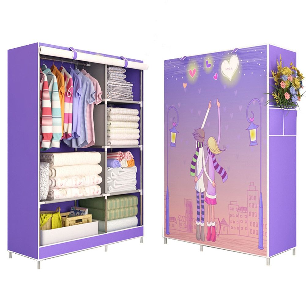 3D painting Wardrobe Non-woven Fabric Steel frame reinforcement Standing Storage Organizer Detachable Clothing Closet furniture