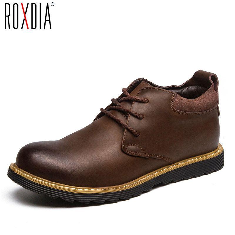 ROXDIA moda otoño hombres de cuero botas de nieve caliente del invierno para hombre botines impermeables para los zapatos masculinos 39-44 RXM058