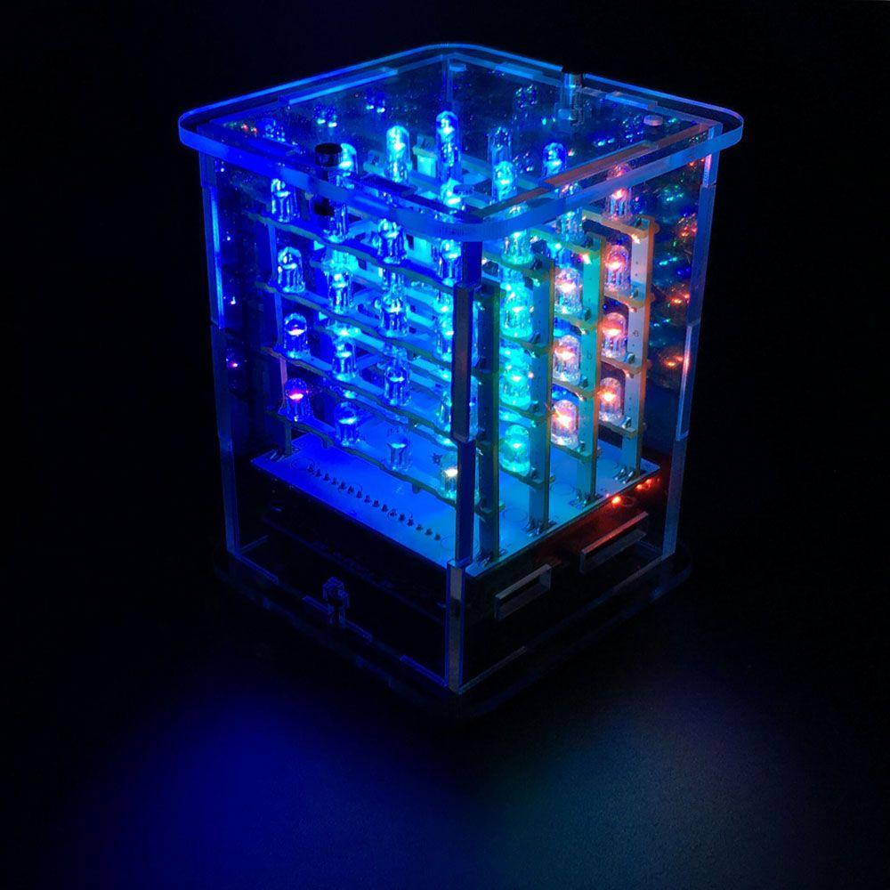 2018NEW! Keyestudio 4*4*4 écran RGB LED Kit de démarrage CUBE pour projet Arduino + carte pilote RGB + module FDTI (Unassemb LED)