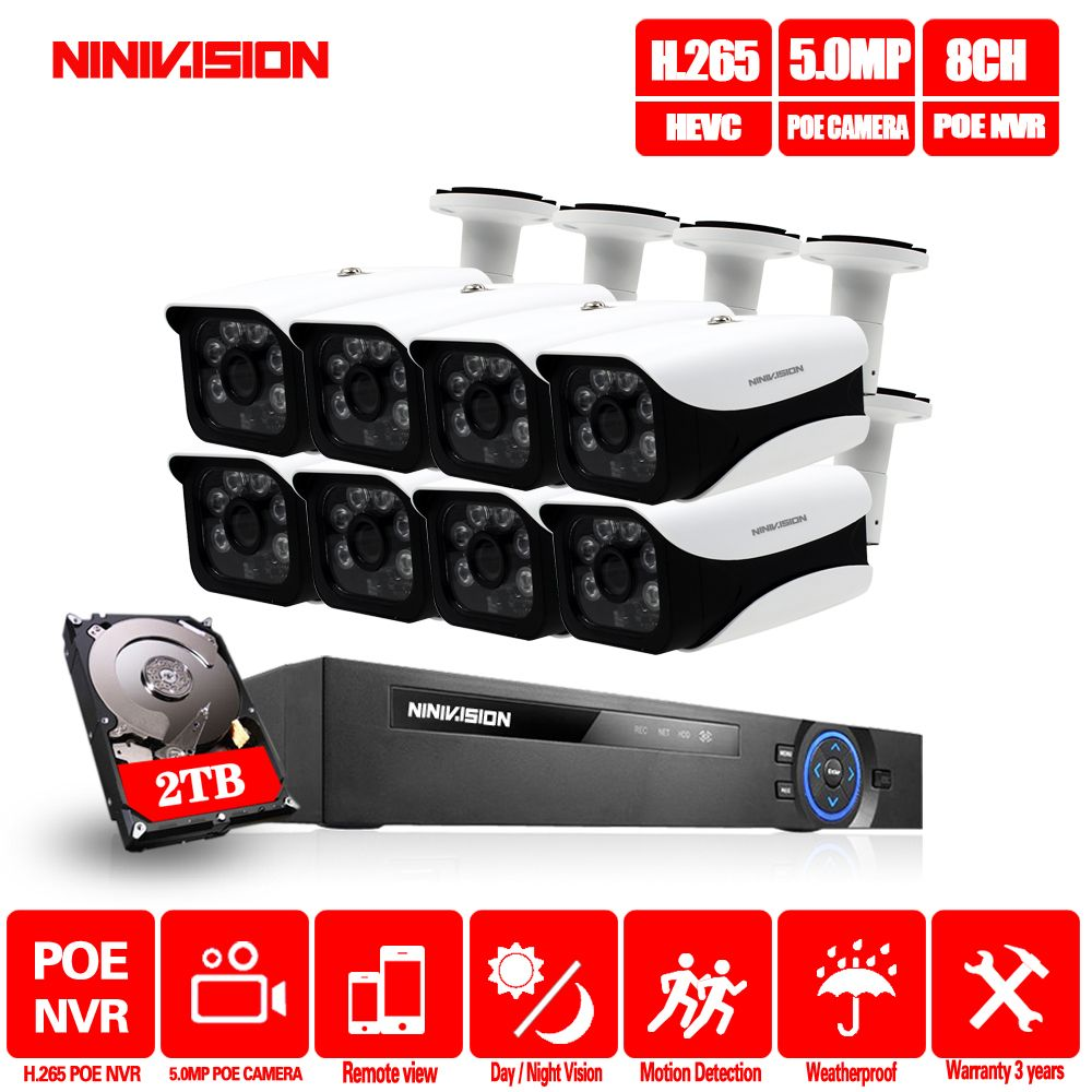 8CH NVR 5MP POE CCTV kamera System Kit H.265 Im Freien Wasserdichte Ip-kamera POE home security Video Überwachung kit