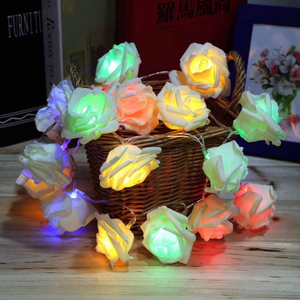 Mode Urlaub Beleuchtung 20 LED Rose Blume Lichterketten Fairy Hochzeit Party Weihnachten Dekoration