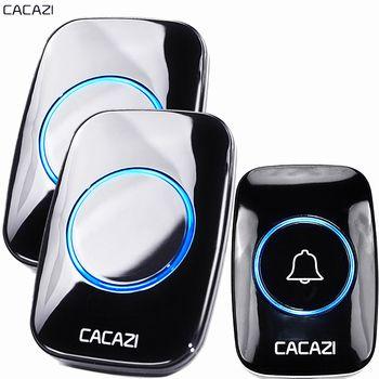 CACAZI New Wireless Doorbell Waterproof 300M Remote EU AU UK US Plug smart Door Bell Chime battery 1 2 button 1 2 3 receiver AC