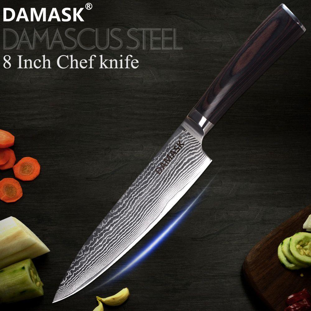DAMAST Super Sharp 8 zoll Damaskus Kochmesser VG10 Core 67 Schicht Damaskus Stahl Küche Koch Messer Holz Griff Küche werkzeug