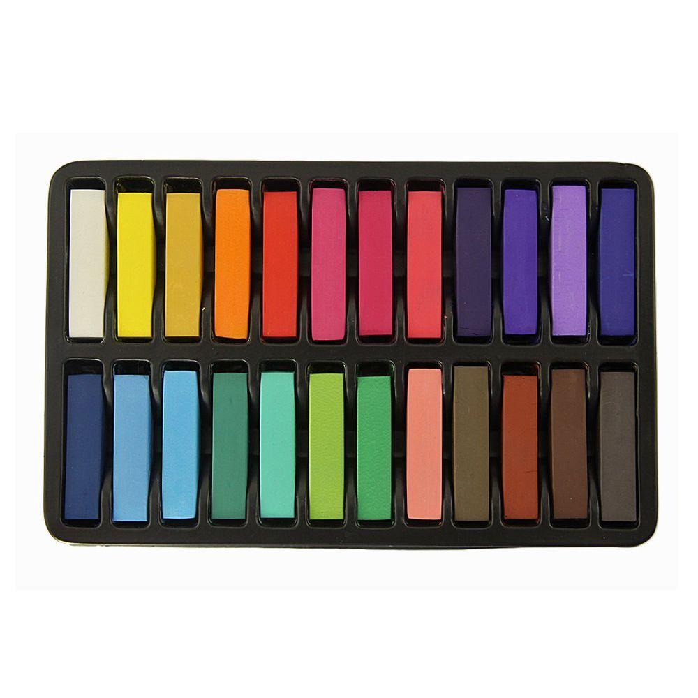 HTHL Non-Toxic Hair Chalk Temporary Hair Dye Color's Soft Pastels Salon Set Kit (24 PCS)