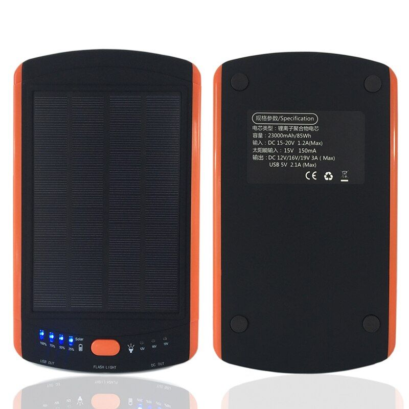 Large Capacity Power Solar 23000mAh Charger for Laptop Backup External Battery 5V 12V 16V 19V Solar Panel Power high quality