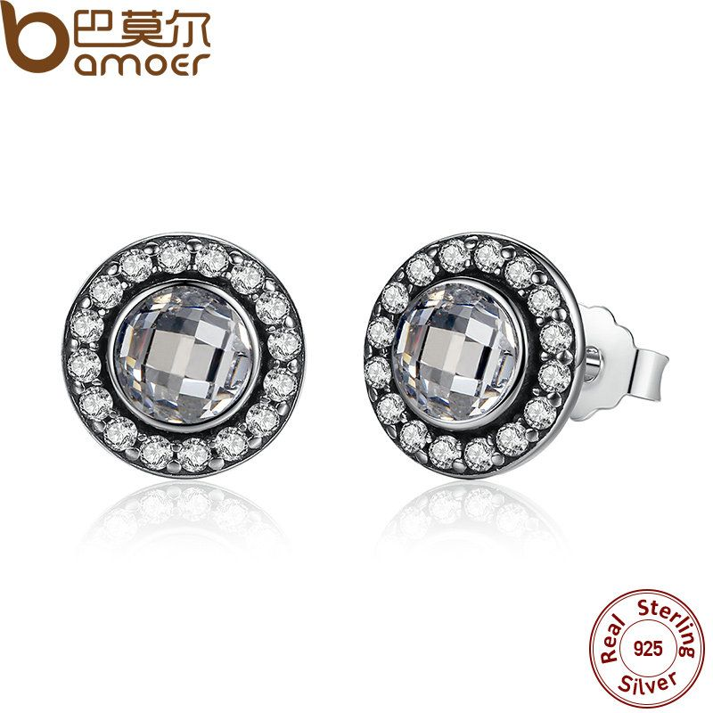 BAMOER Authentic 925 Sterling Silver Brilliant Legacy Stud Earrings With Clear CZ for Women Anniversary Jewelry PAS422