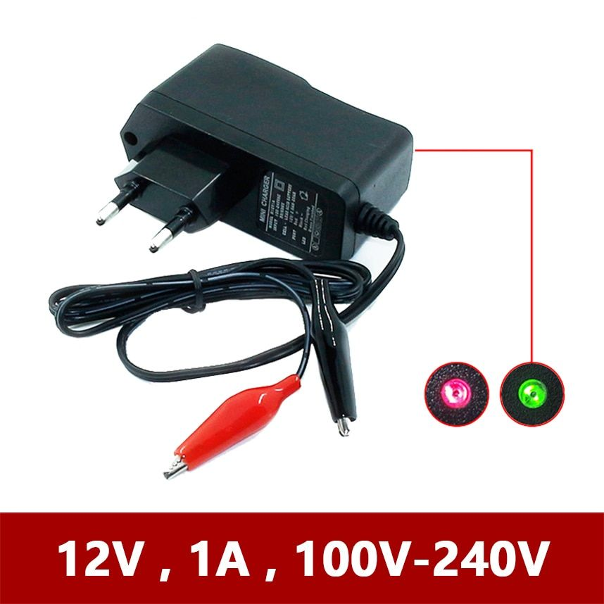 12V 1000ma Smart Lead Acid AGM GEL Battery Charger for Car Motorcycle DC 12 V Volt 1A 220V Motor 4ah 7ah 10ah 12ah 20ah Moto EU