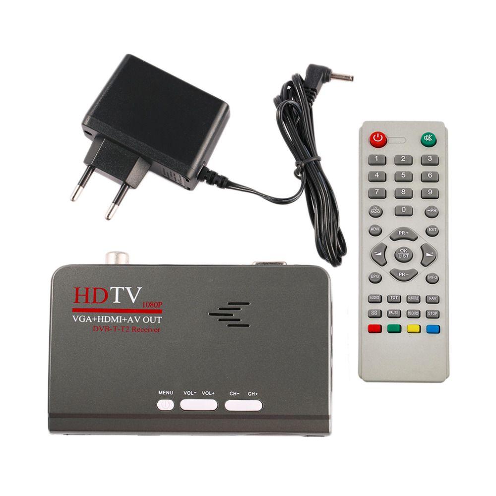 HD 1080 P с VGA/без VGA версия DVB-T2 ТВ коробка AV CVBS тюнер приемник с Дистанционное управление совместимость с CRT и ЖК-дисплей