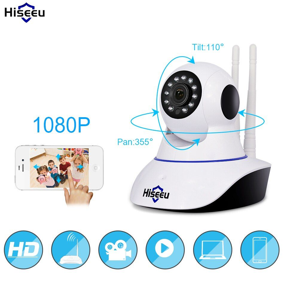 Hiseeu 1080P IP Camera <font><b>Wireless</b></font> Home Security IP Camera Surveillance Camera Wifi Night Vision CCTV Camera Baby Monitor 1920*1080