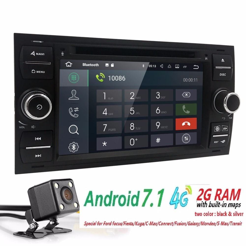 2din Android 7.1 DAB+Car DVD Player In Dash For Ford Transit Focus Connect S-MAX Kuga Mondeo With QuadCore Wifi 4G GPS Bluetooth