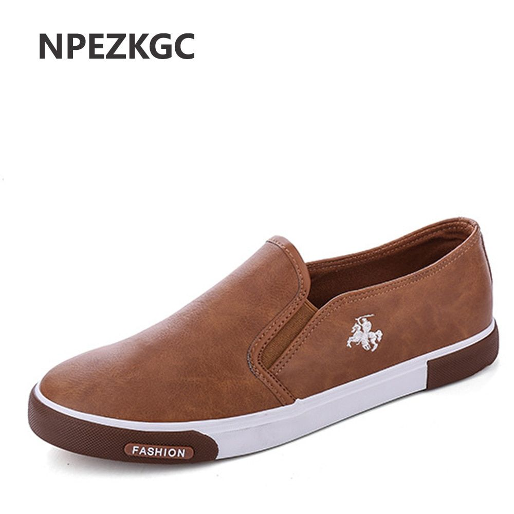 NPEZKGC New arrival Low price Mens Breathable High Quality Casual Shoes PU Leather Casual Shoes Slip On men Fashion Flats Loafer