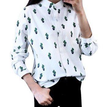 Hot Sale Summer Women White Printed Foroal Blouse Long Sleeve Cactus Loose Leisure Blouse Tops