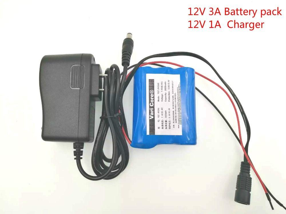 VariCore 12 V 3000 mAh 18650 Li-ion batterie Rechargeable pour caméra CCTV 3A Batteries + 12.6 V 1A chargeur