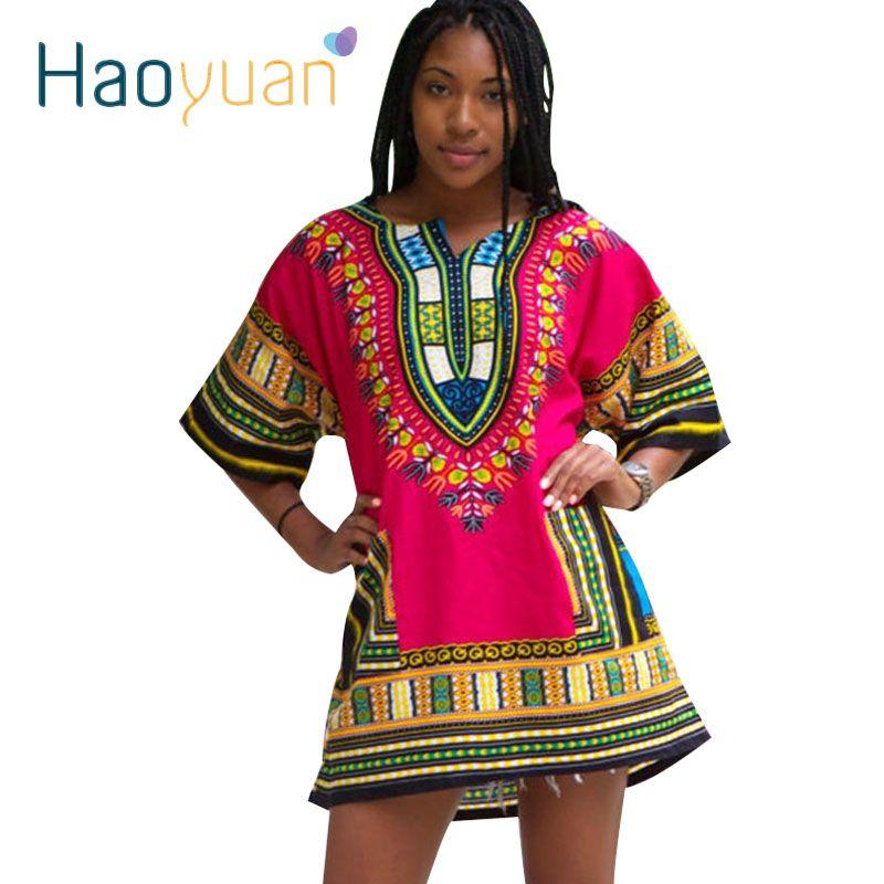 HAOYUAN Dashiki Vestido 2018 Mujer Africana Bazin Riche Tradicional de Impresión de Manga Corta T-shirt Ropa Vestidos Para Las Mujeres Africanas