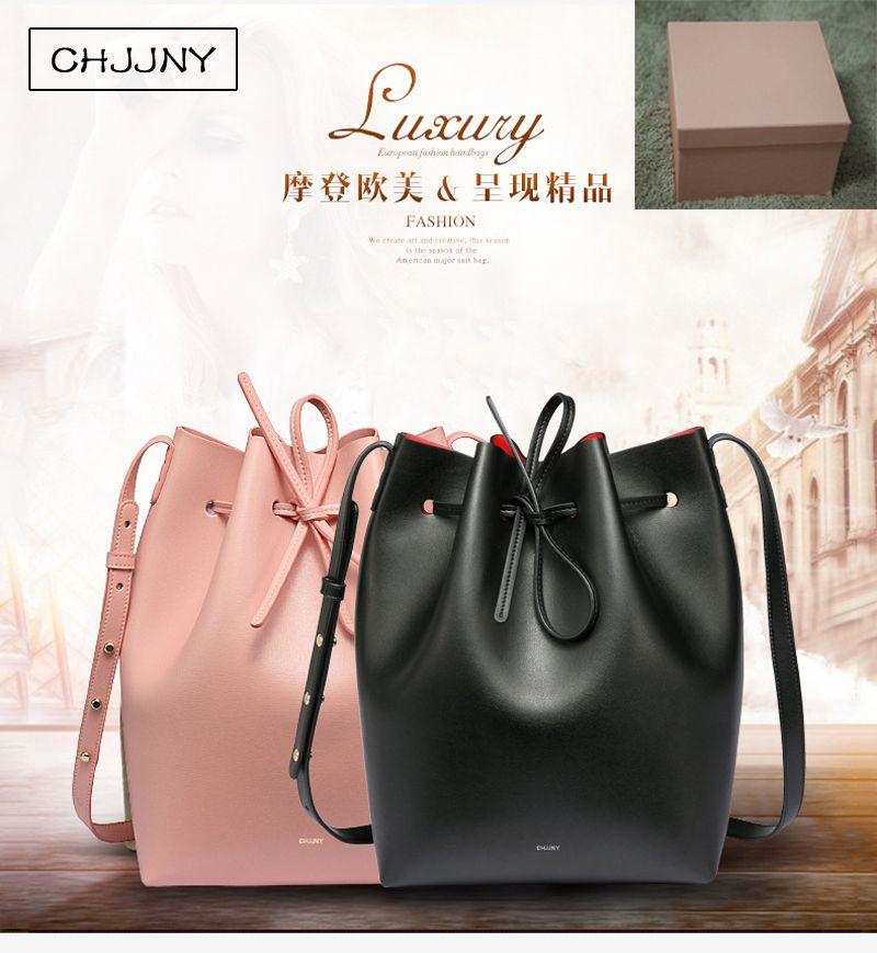 Chjjny famoso cubo de cuero genuino mujeres bolso de lazo del hombro crossbody marca diseñador Rachel Mansur con la caja original del logotipo
