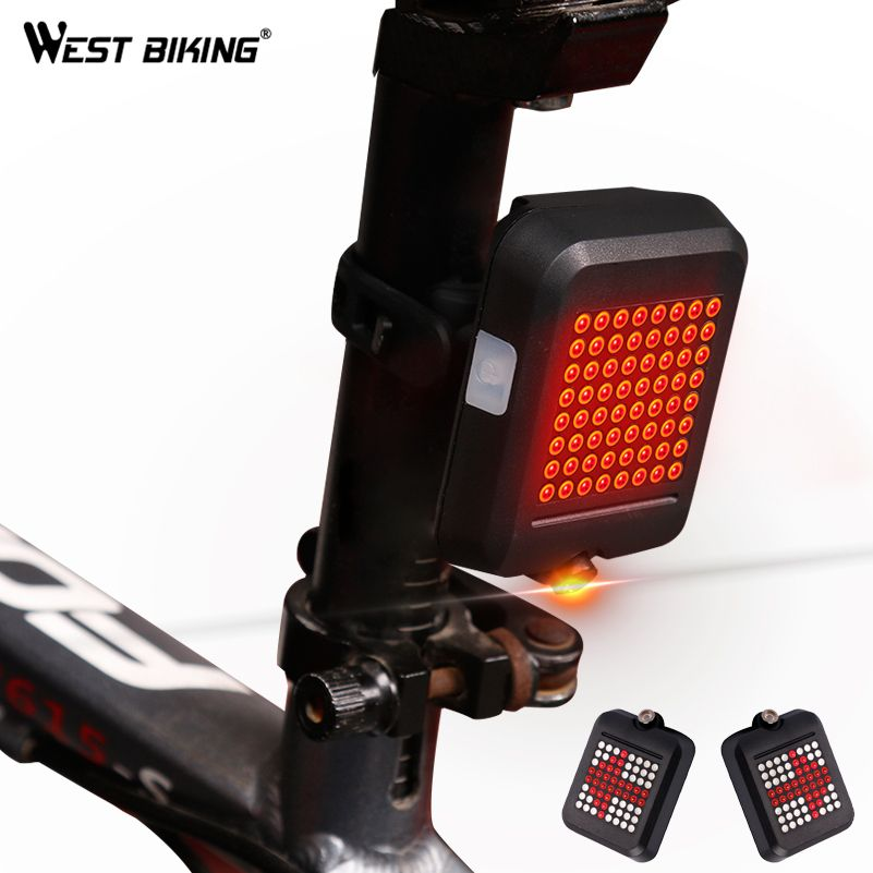 WEST BIKING 64 LED Laser Bicycle Rear Taillight Waterproof USB Rechargeable MTB Bike Automatic Turn Signals Safety Warning Light