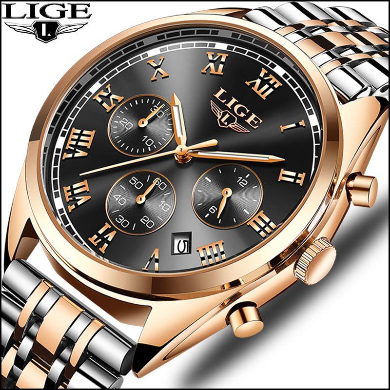 Watches men luxury brand Watch LIGE Quartz Sport Military Men Full Steel Wristwatch Dive 30m Casual Watch Relogio Masculino +BOX