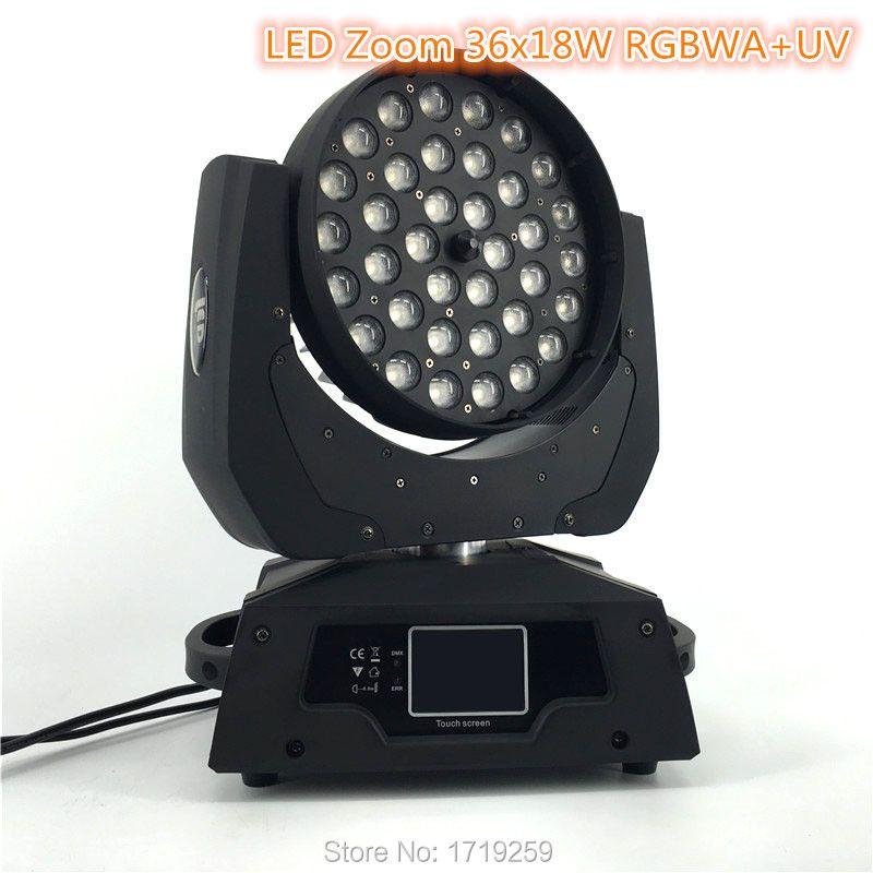 2 шт/комплект LED масштабирования Wash 36X18 Вт RGBWA + УФ Цвет DMX Сенсорный экран, LED перемещение головы мыть свет хорошо для DJ