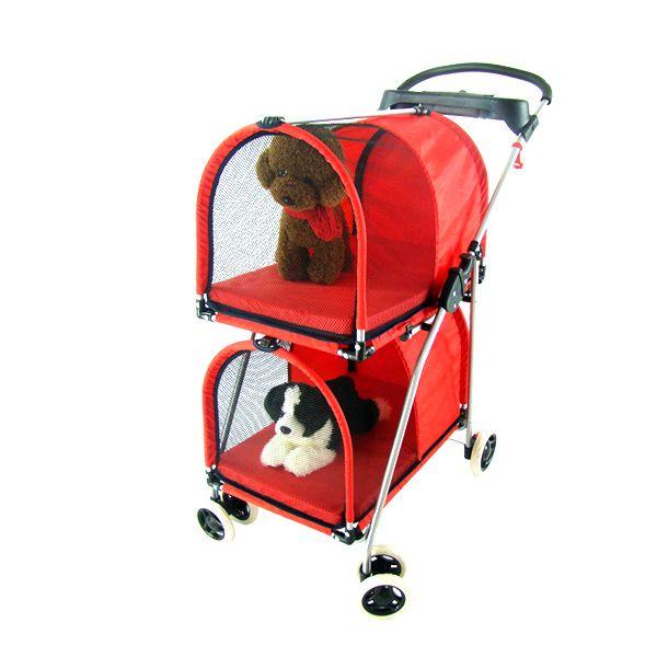 Faltbare Doppel Schicht Pet Kinderwagen Stahlrahmen Atmungsaktiv Hund Katze Träger 4 Räder Waschbar Pet Warenkorb 10 Beaking
