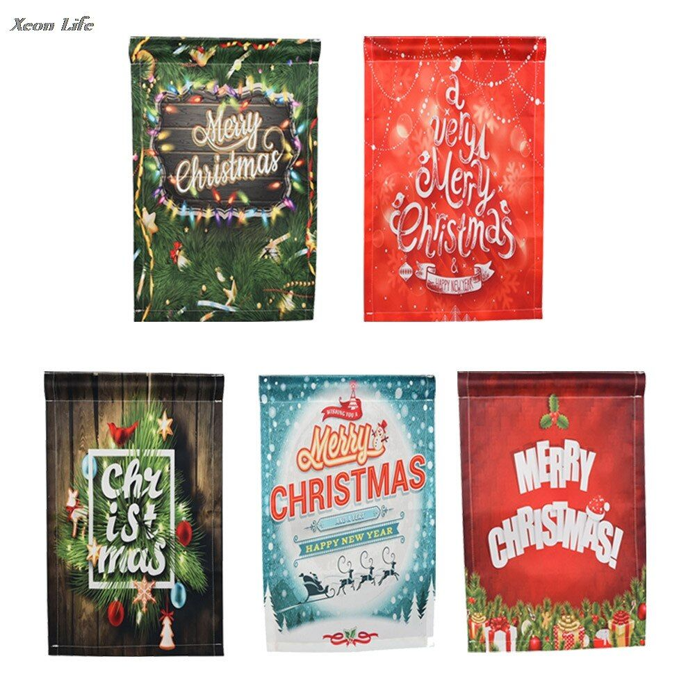 ISHOWTIENDA 5 Pcs 30*45cm Merry Christmas Garden Flags House Decor Mini Yard BannerFree Shipping